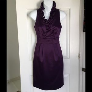 Lord & Taylor Sleeveless RuffleV-neck Purple Dress